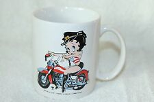 Betty Boop White Ceramic Coffee Cup Mug Motorcycle Biker Chick Hot Cocoa FreeSHP