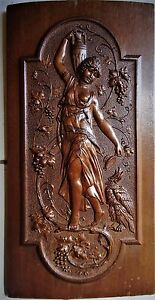 Stuning Mid 19th C  French wooden hand carved panel , classical figurine