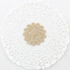 2 x Gold embroidered lace flowers for millinery , hair and crafts