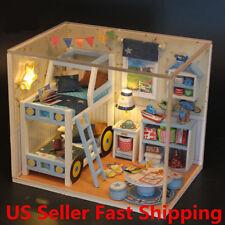 Wooden Dollhouse Miniature Furniture Bedroom DIY Kit LED Light Kids Toy Gift US