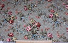 """Antique French Home Cotton Fabric Sample c1870~Roses & Ribbons~17""""LX31""""W"""