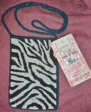 New w/ Tag SEED BEADED SHOULDER BAG w/ ZEBRA DESIGN By Newport News Easy Style