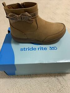 Little/Toddler Girl Size 11-Wide STRIDE RITE Elaine 360 Brown Ankle Boots