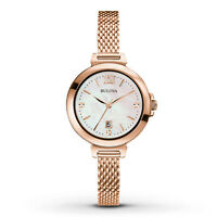 Bulova Women's Quartz Diamond Markers Rose Gold Tone Bangle 30mm Watch 97P108