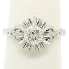 Vintage Platinum 0.68ctw Transitional Diamond Solitaire Filigree Engagement Ring