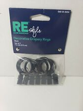 """1"""" Diameter Drapery Rings With Clips Black Finish 7 Pack - Room Essentials"""