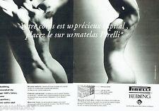 PUBLICITE ADVERTISING  016  1993  les matelas Pirelli Bedding  (2p) seins nus