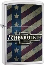 Zippo 2016 Catalog NEW Chevrolet Logo Rugged American Flag Brushed Chrome 29148