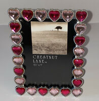"New CHESTNUT LANE FreeStanding Photo Frame 3.5"" X 5"" Pink & Fuchsia Heart"