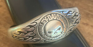 Harley Davidson Sterling Silver Men's Biker Bracelet 74 Grams Willie G. Cuff