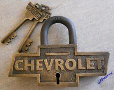 Chevrolet Brass Large lock Chevy padlock Logo Shape w/2 keys