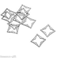 10PC Stainless Steel Silver Square Jewelry Connectors Findings