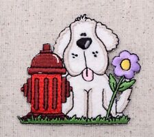 Puppy Dog Red Fire Hydrant/Daisy Flower/Pets Iron on Applique/Embroidered Patch