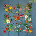 GUCCI steel Blue FLORA Flower & Butterflies Large SIGNED silk scarf NWT Authentc