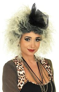 Adult 80s Pop Star Diva Blond Curly Wig for Womens Popstar Fancy Dress Costume