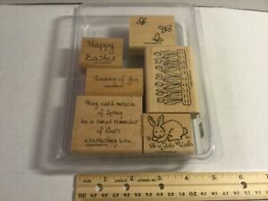 "Stampin Up 2002 ""Miracle Of Spring"" Set of 6 Wood Block Rubber Mounted Crafting"