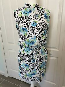 NWOT IBKUL Eva Print Sleeveless Drawstring Dress #63858 Peri Sz S