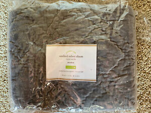 POTTERY BARN Washed Velvet Silk Diamond Quilted Sham NEW - GRAY King/Euro/Stand