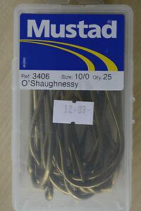MUSTAD 3406 O'Shaughnessy BRONZED Sea Fishing Big Fish Hooks 8/0 & 10/0