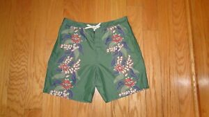 Polo Sport Ralph Lauren Swim Shorts Size 36 Green Floral Men's Trunks Board