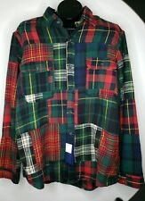 Polo Ralph Lauren Red Plaid PATCHWORK FLANNEL Shirt XL ELBOW PATCHES $228