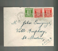 1943 Guernsey Channel Islands Occupation Cover to Ville Amphrey St Martins