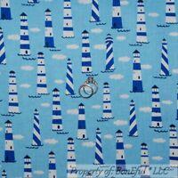 BonEful Fabric FQ Cotton Quilt Blue Black White B&W Cloud Lighthouse Stripe Flag