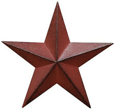 "(SET of 3) BURGUNDY Distressed BARN STARS Country Primitive 3.5 "" Metal Stars"