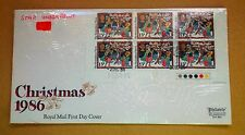 FIRST DAY COVER CHRISTMAS 1986 STAR UNDER PRINT BLOCK OF 6 x 13p TRAFFIC LIGHTS
