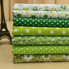 Green Series 7 Assorted Pre-Cut Fat Quarters Bundle Cotton Quilting Fabric Cloth