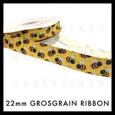 "Honey Bumble Bee Grosgrain Ribbon 7/8"" 22mm Scandi Cute Yellow"