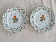 Ceralene Guirlandes Limoges France-Floral on White- 2 Bread & Butter Plates + 1