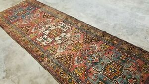 "3'5""x10'5 ANTIQUE c1900 HAND-KNOTTED CAUCASIAN SERAPE HERIZI TRIBAL RUG RUNNER"