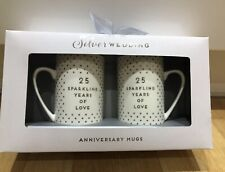 Silver Wedding Anniversary Mug Set -25 Years Marriage Anniversary Gift Her/His