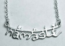 "STUNNING 925 STERLING SILVER ""NAMASTE"" NECKLACE + FREE VELVET POUCH OCCULT/WITCH"