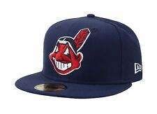 New Era 59Fifty MLB Cap Cleveland Indians Navy Blue Large Face Fitted Wool Hat
