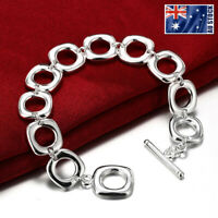 New 925 Sterling Silver Filled Womens Solid  Square Charm Bangle Bracelet 8''