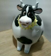 New listing Vintage Ceramic Cow Pitcher Pink Flowers Planter Mouth Chip on Spout Read
