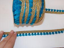 turquoise gold sequin bead trim braid dance ribbon tassel fringe
