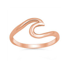 Trendy Fashion Wave Ring Band Swirl Simple Plain Sterling Silver Choose Color