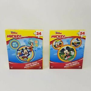 """NIB Disney Junior 2 Pack Mickey Mouse Shaped Puzzles 24 Pieces 9.1"""" x 10.3"""""""