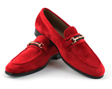 Men's RED Velvet Slip On Gold Buckle Dress Shoes Loafers Formal By AZARMAN