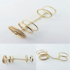 Personalized Gold Jointed Loops Ring Hollow Chain Full finger Rings-