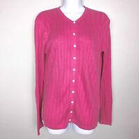 Foxcroft Womens Sweater M Pink Knit Cardigan Long Sleeve Scoop Neck Classic Q2