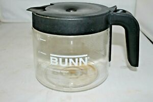 Bunn Coffee Replacement Decanter 8 Cup Black Lid Pot Glass Pre-owned