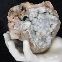 "4-1/2"" Blue Pink Botryoidal Chalcedony Crystal Large Geode Kentucky Quartz 16oz"