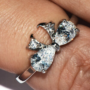 """925 Silver Crystal """"bow tie"""" Ring for Womens Little Girls Kids Rings Size 6"""