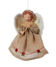 "Kurt Adler 7"" Fabric Ornament Angel Christmas Tree Topper Tan Dress Folk Decor"