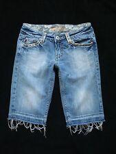 MISS ME sz 27 Stretch Denim Shorts Cut Off Reno Light Wash Jean Lace Flap Pocket