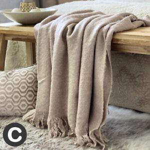 Luxury Mohair Wool Feel Soft Beige Linen Large Plain Bed Sofa Blanket Throw
